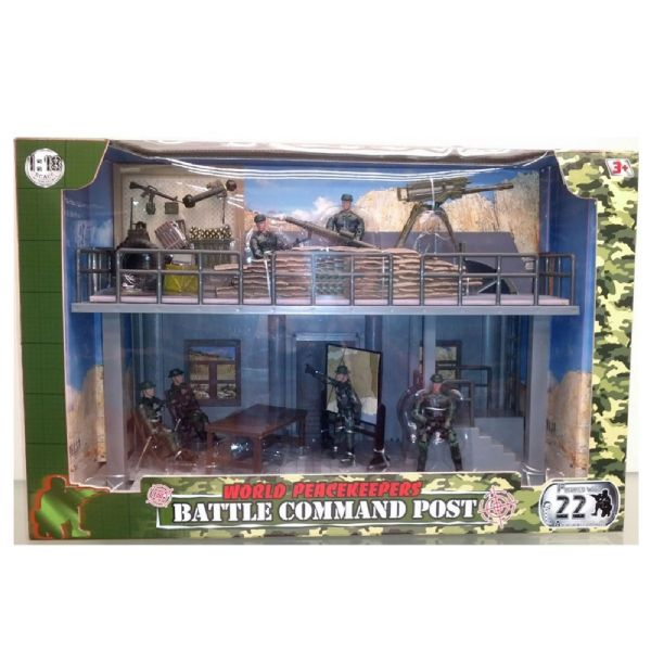 World Peacekeepers Army Battle Command Post H  With 6 Military Figures